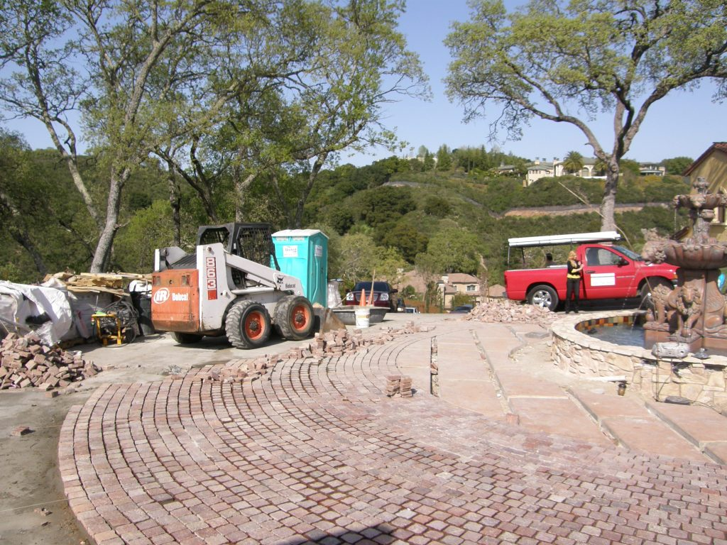 Alamo, CA. Equipment and beginning of the Copper Mountain Porphyry driveway installation.