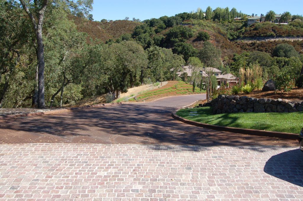 Alamo, CA. Copper Mountain Porphyry. The finished driveway looking at the expansive views.